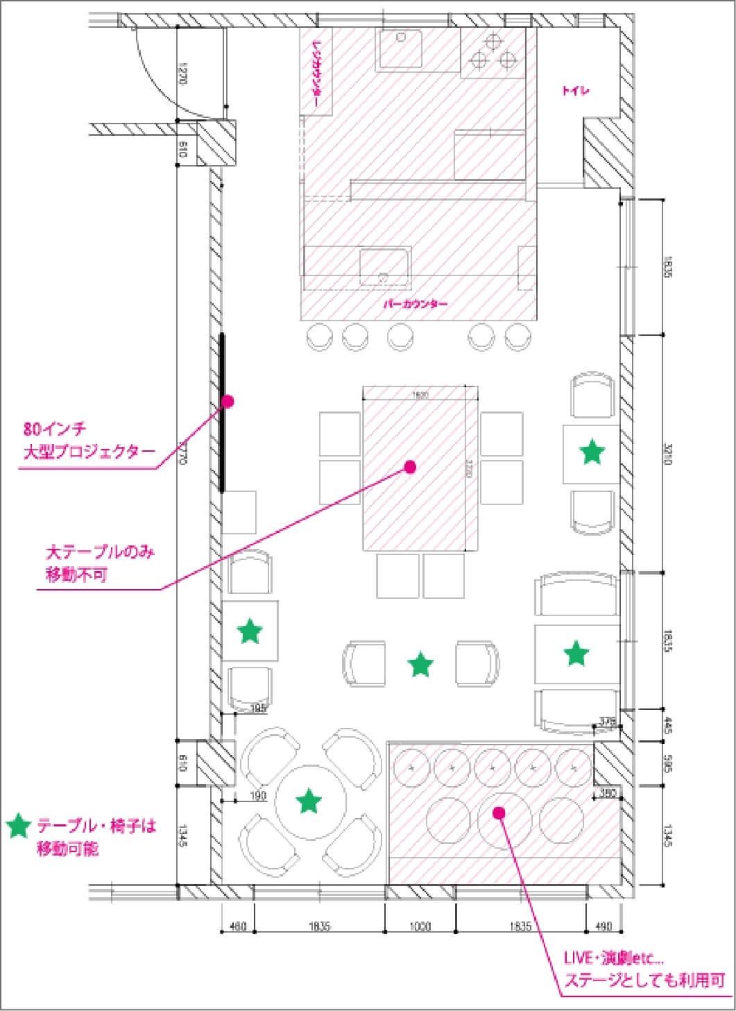 CAFE★BAR BLOOMOON(カフェバー ブルゥムーン)吉祥寺の店内レイアウト